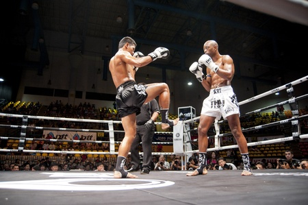 BANGKOK THAILAND- SEPTEMBER 25 : Thai Fight : Muay Thai..Worlds Unrivalled Fight on September 25, 2011 at Thammasat University Cnvention Center,Bangkok Thailand