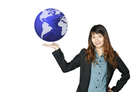 business woman with world in hand  photo