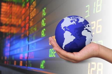hand holding business world  Stock Photo