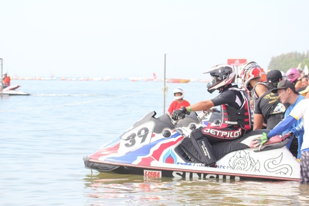 PATTAYA THAILAND - DEC 4 : Jet Ski King's Cup - Chang Drinking Water World Cup Grand Prix 2011 Champion on December 4, 2011 in Pattaya, Thailand.  Stock Photo - 12201114