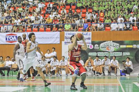 BANGKOK, THAILAND - FEB 5 : Asean Basketball League 2012 (ABL) between Slammers(W) vs Leader(R) at Thai-Japanese Stadium on February 5, 2012 in Bangkok, Thailand  Stock Photo - 12368319