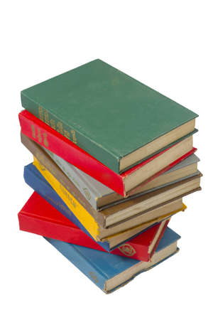 Stack of colorful real books on white background  photo