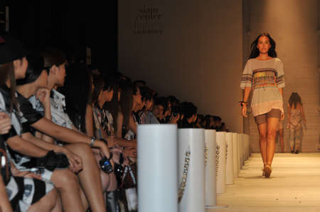 BANGKOK, THAILAND - MARCH 23  : Model walks the runway at ' Theatre ' collection presentation during Siam Cente Fashion Visionary Spring/Summe on March 23, 2012 in Bangkok Thailand.