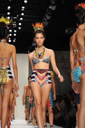 BANGKOK, THAILAND - MARCH 23  : Model walks the runway at  Theatre  collection presentation during Siam Cente Fashion Visionary SpringSumme on March 23, 2012 in Bangkok Thailand.