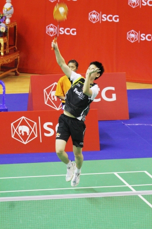 BANGKOK, THAILAND- JUNE 5: H.Gao Vs S.Sootlake in the Qualificaion rounds of SCG Thailand Open Grand Prix Gold 2012 on June 5, 2012 at CU Sport Complex in Bangkok, Thailand