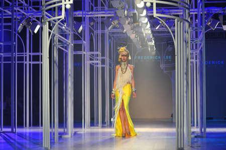 supermodel: BANGKOK, THAILAND - SEP 29 : Model walks the runway at  Frederick Lee  collection presentation during Siam Paragon International Couture Fashion Week 2012 on September 29, 2012 in Bangkok Thailand.