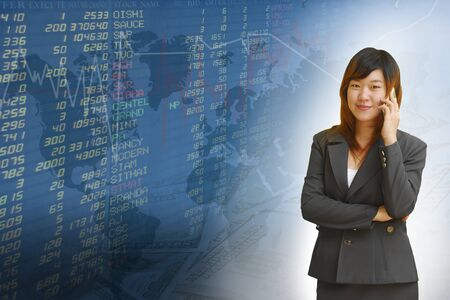 Businesswoman with exchange graphics on the background Stock Photo - 18261045