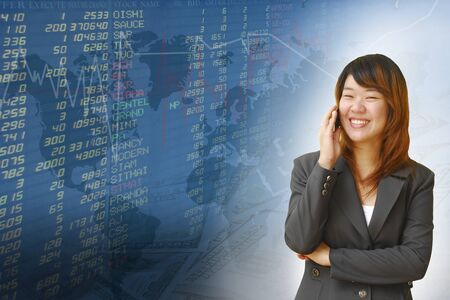 Businesswoman with exchange graphics on the background Stock Photo - 18261046
