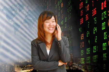 Businesswoman or stock broker  photo
