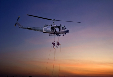 civilian: Civilian helicopter in the sky