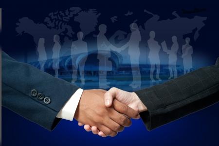Handshake auf betriebswirtschaftlichen Hintergrund isoliert Standard-Bild - 18989733