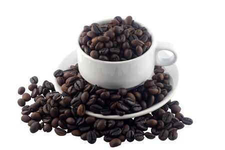 Coffee beans and cup-background, photo