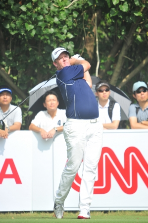 CHONBURI - DECEMBER 14 : Marcus Fraser in aciton during Thailand Golf Championship 2013 at Amata Spring Country Club on December 14, 2013 in Chonburi, Thailand.