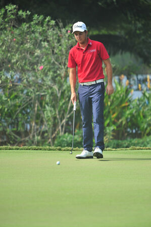 weber: CHONBURI - DECEMBER 14 : Lionel Weber in aciton during Thailand Golf Championship 2013 at Amata Spring Country Club on December 14, 2013 in Chonburi, Thailand.
