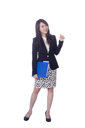 Asian business woman give you excellent gesture, close up portrait on white background  photo