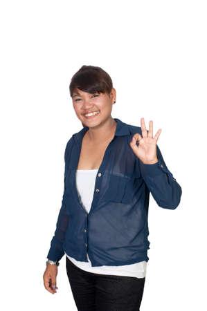 Confident Asian business woman, closeup portrait on white background.  photo