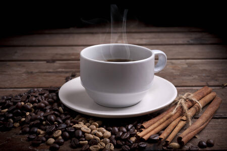 coffee cup and coffee beans  photo