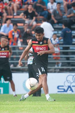 premierleague: BANGKOK THAILAND-MAY 28 : Thai Premier League Singtrareo Fc and Muangthong United at Pat Stadiumon May 28,2014 in Thailand
