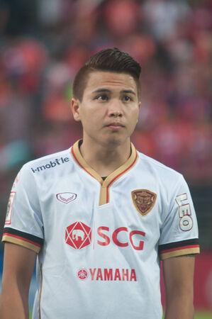 premierleague: BANGKOK Thailandia-maggio 28: Thai Premier League Singtrareo Fc e Muangthong United a Pat Stadiumon maggio 28,2014 in Thailandia