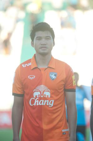 premierleague: BANGKOK THAILANDIA-30 MARZO: Thai Premier League GSE Samutsongcham FC e FC a Suphanburi Army Stadiumon marzo 30,2014 in Thailandia Editoriali