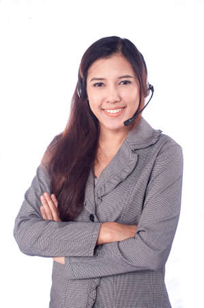 Beautiful business woman with headset photo