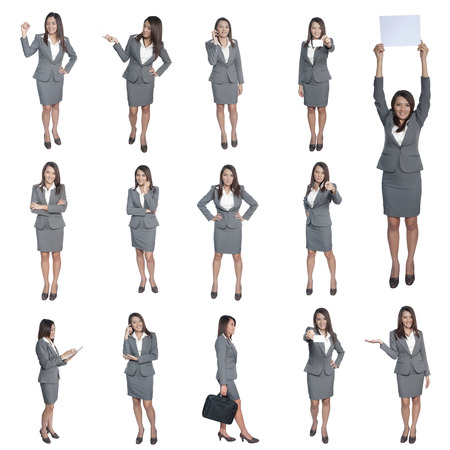 business people set on white background photo
