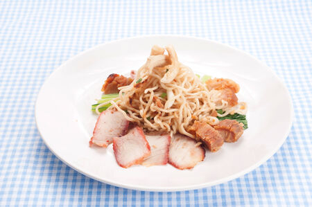 chinese an thai cuisine style : noodles vegetable and pork photo