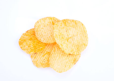 Potato chips isolated on white with clipping path photo