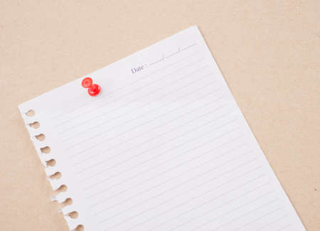 paper pin: paper posted on a board with red tack pin.
