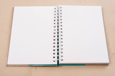 photo story: open diary or photo album book on brown backgroun