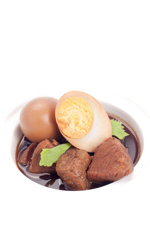 thailand suisine called Kai Palo , hard-boiled egg and pork stew with seasonings blend, sweet taste. photo