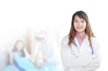 pacientes: mujer m�dico en el hospital con pacientes Foto de archivo