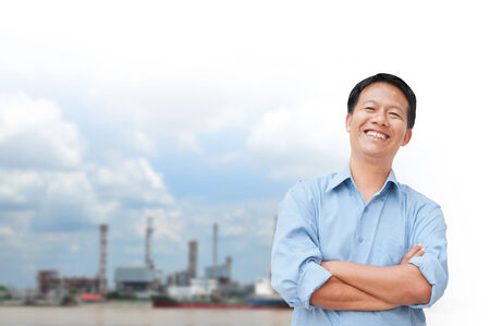 portrait of young asia businessman has oil industry. photo
