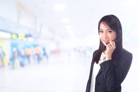portrait of asian busineasian businesswomen has airport .Mixed Asian  Caucasian businesswoman. photo