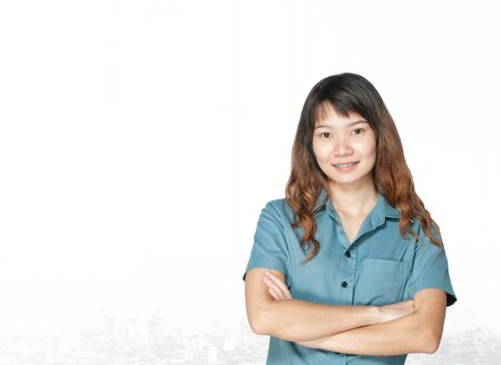 20 year old: Portrait of young asia business woman 20 - 30 year old in her office.Mixed Asian  Caucasian businesswoman.Positive emotion Stock Photo