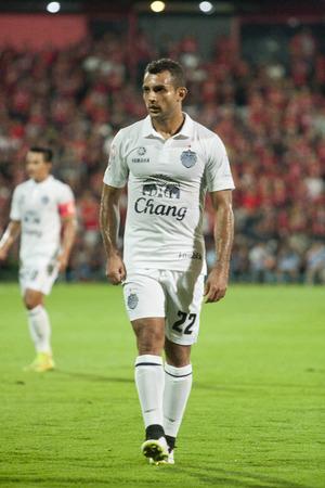 NONTHABURI THAI-FEB 21: N. Krutyai of Buriram Utd.shot the ball during Thai Premier League2015 between SCG Muangthong Utd.and Buriram UTD.at SCG Stadium on February 21,2015 in,Thailand