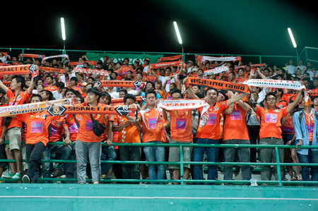 premier league: PATHUMTHANI,THAILAND MAR 13 : C,Chimtale player of Bangkok Glass FC in Thai premier League between Bangkok Glass FC and Srisaket FC at LeoStadium on March 13, 2015 in Thailand