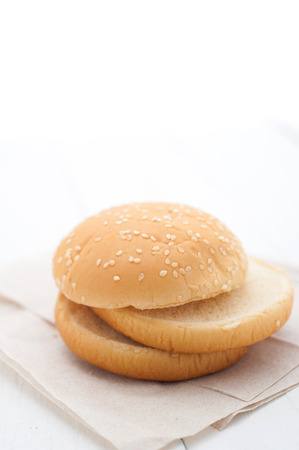 sprinkle: Hamburger bun sprinkle with sesame Stock Photo