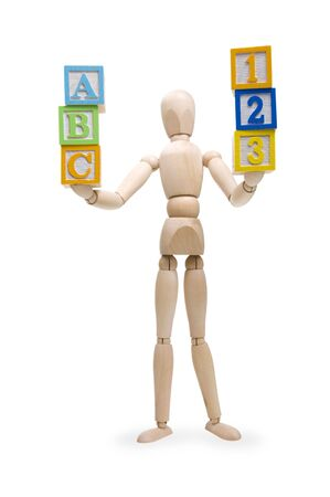 Wooden figure with ABC & 123 wooden blocks