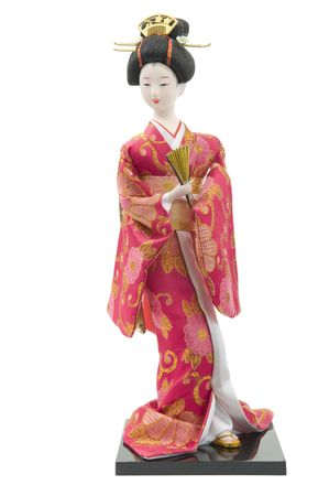 Traditional Japanese doll isolated on white background  Stok Fotoğraf