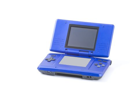Handheld video game machine on a white background