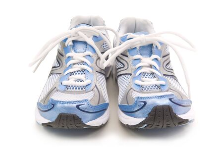 Pair of blue running shoes on a white background
