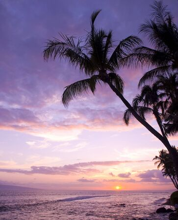 Colorful sunset on Kaanapali Beach in Maui. Stock Photo