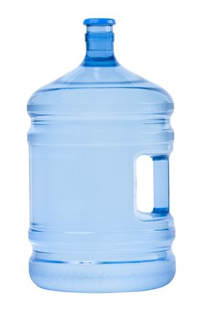 Plastic 5 gallon container of drinking water on a white background