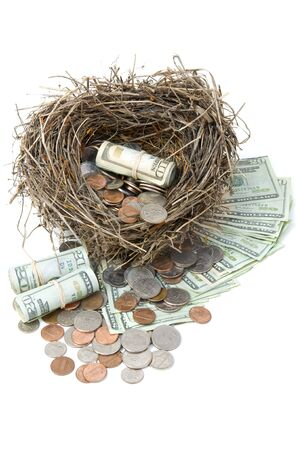 Financial nest egg overflowing with money. Imagens
