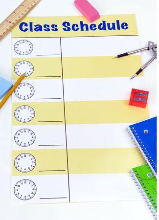Klasse schema met lege ruimtes voor lessen.