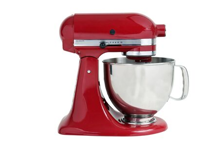 blender: Red kitchen mixer on a white background Stock Photo