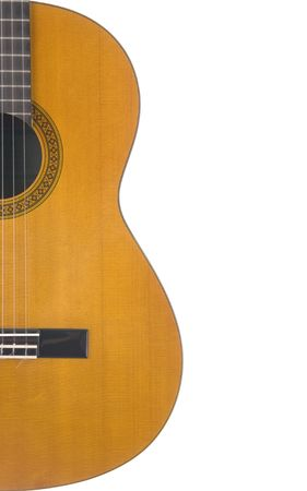 Half of a classical guitar on a white background Standard-Bild