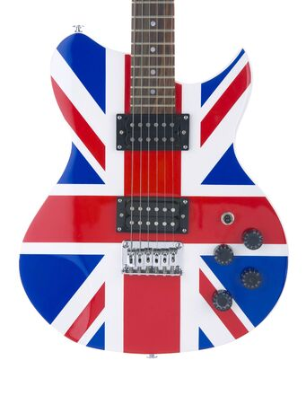 pickups: Electric guitar close-up with a graphic of the British flag