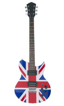 それに英国のフラグ付きのエレク トリック ギターの完全なショット。 写真素材
